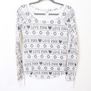 Victoria Secret PINK White Thermal Pajama Top - XS